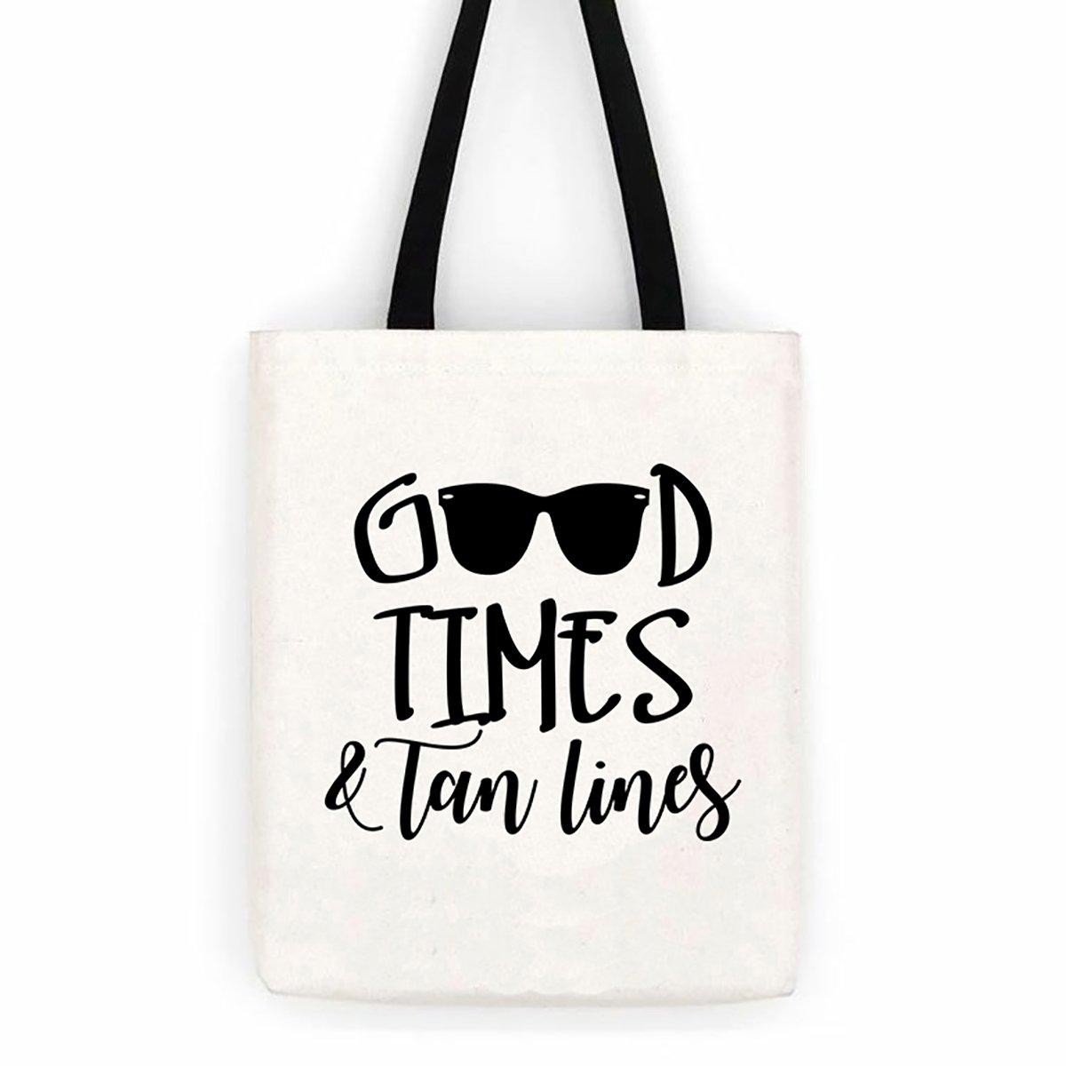 Good Times /& Tan Lines Cotton Canvas Tote Bag Beach Trip Bag