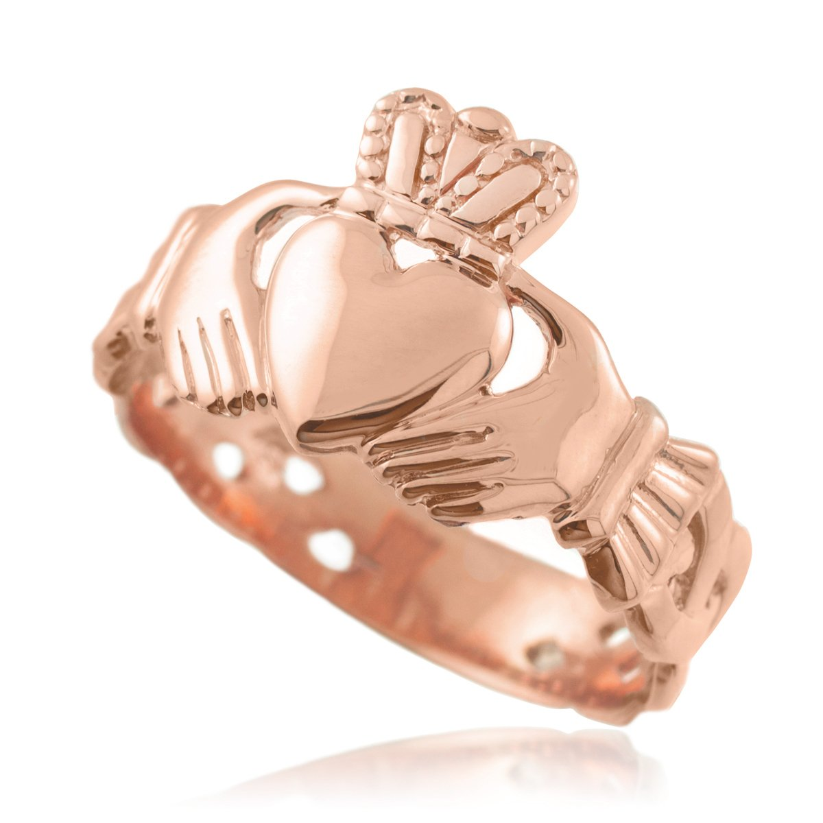 Men's Solid 14k Rose Gold Trinity Knot Band Irish Claddagh Ring