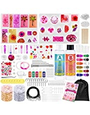 Resin Molds Kit for Jewelry Making, 270 Pcs Epoxy Resin Supplies for Beginners with Silicone Molds, Epoxy Resin, Dried Flowers, Glitters, Pigment Liquid, Gold Foil Flakes, Tools for DIY Art Crafts