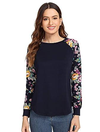 4fe5c469b3d Romwe Women s Long Sleeve Top Casual Floral Print T-Shirt Tee Navy XS