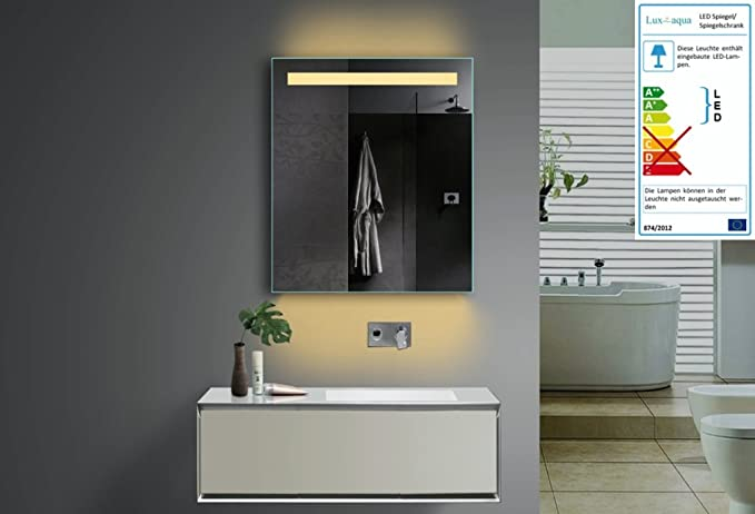 Moderne Lampen 61 : Top led bathroom mirror with lighting selectable in 60x70 cm warm
