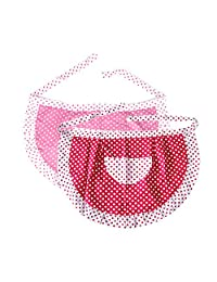 """(Price/2 PCS) Opromo Lady's Cotton Polka Dot Waist Aprons with Pocket, 28 3/4""""W x 18 1/2""""H-Red/Pink"""