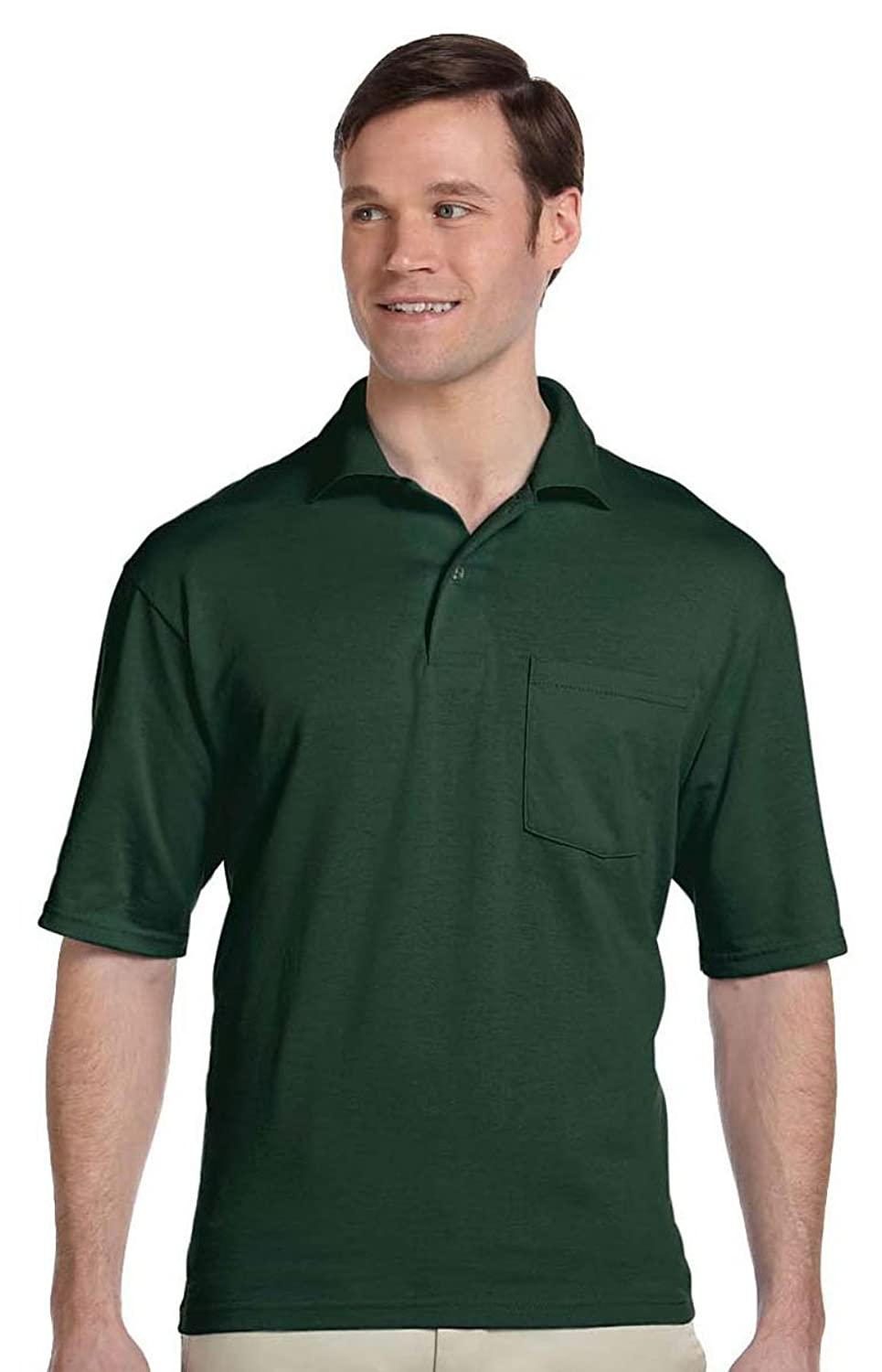 Jerzees 56 oz, 50/50 Jersey Pocket Polo with SpotShield, SAFETY GREEN