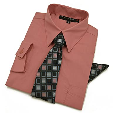 Johnnie Lene - Camisa de Manga Larga con Corbata y pañuelo para ...