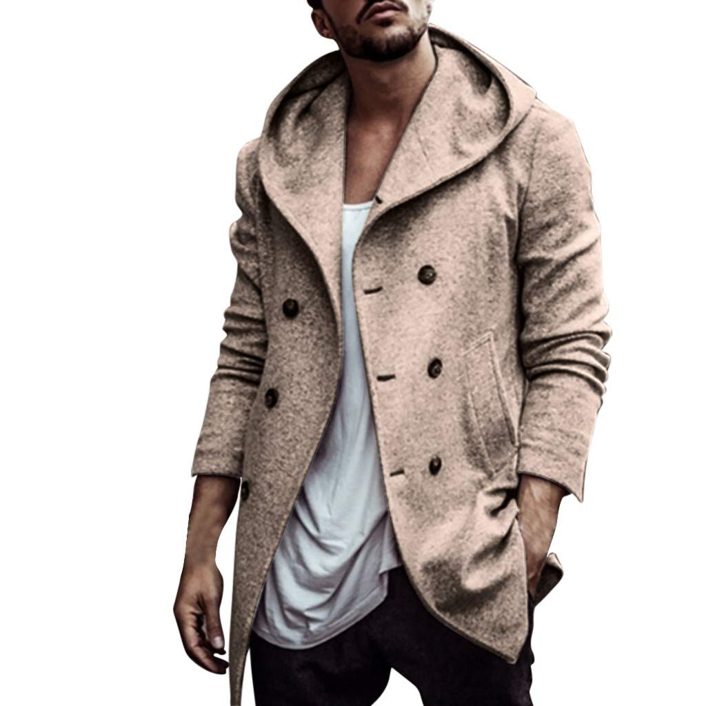 Gleamfut Men's Faux Suede Winter Coat with Hooded Solid Color Comfortable Warm Cardigan Outwear Gray by Gleamfut