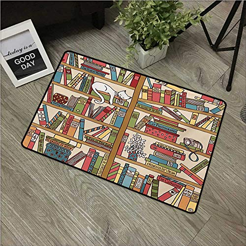 (HRoomDecor Cat,Door mat Nerd Book Lover Kitty Sleeping Over Bookshelf in Library Academics Feline Cosy Boho Design W 31