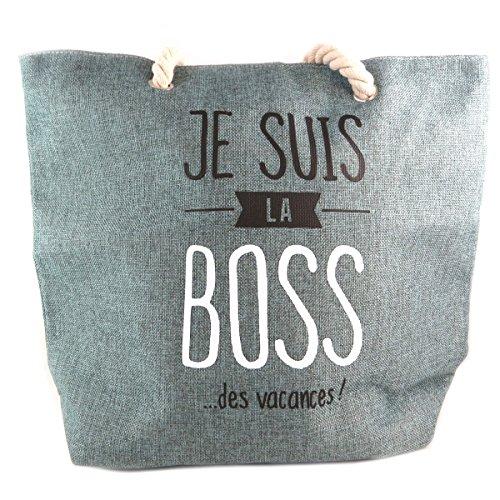 Les Trésors De Lily [Q0440] - Bolsos tipo cesta/shopping playa 'Messages' verde gris (soy el jefe. Vacaciones)- 45x36x15.5 cm.