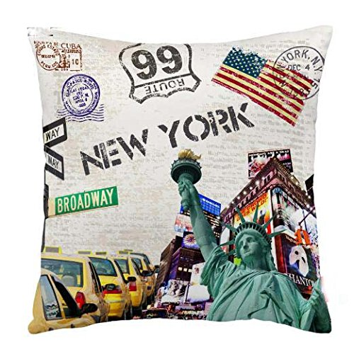 ITFRO Retro Vintage New York City Skyscraper Cotton Linen Square Decorative Retro Throw Pillow Case Vintage Cushion Cover 18
