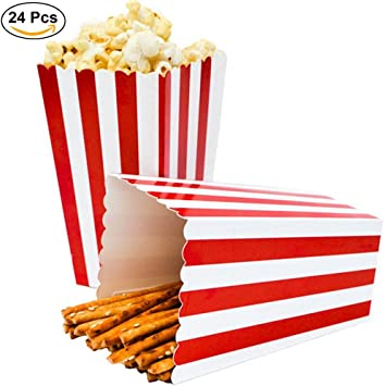 Ouinne Cajas de Palomitas, 24PCS Popcorn Boxes Maíz Envases del Sostenedor Cajas de Cartón de Bolsas de Papel para el Partido (Rojo): Amazon.es: Juguetes y juegos