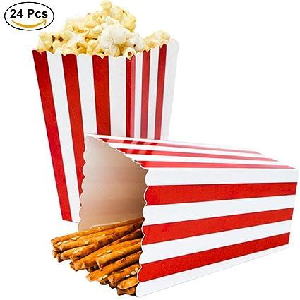 Cajas de Palomitas, Ouinne 24PCS Popcorn Boxes Maíz Envases del Sostenedor Cajas de Cartón de Bolsas de Papel para el Partido (Rojo)