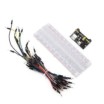 MB102 830 Point PCB Prototype - Kit de Paneles sin Soldadura con 65 Cables de Salto y 3,3 V 5 V módulo de Fuente de alimentación para Proyecto electrónico: ...