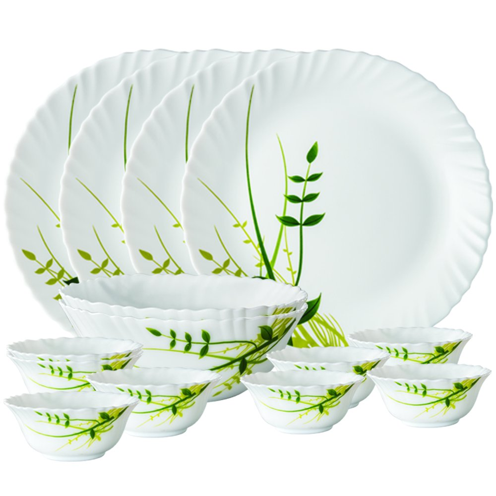 Larah By Borosil Green Herbs Opalware Dinner Set, 14-Pieces, White