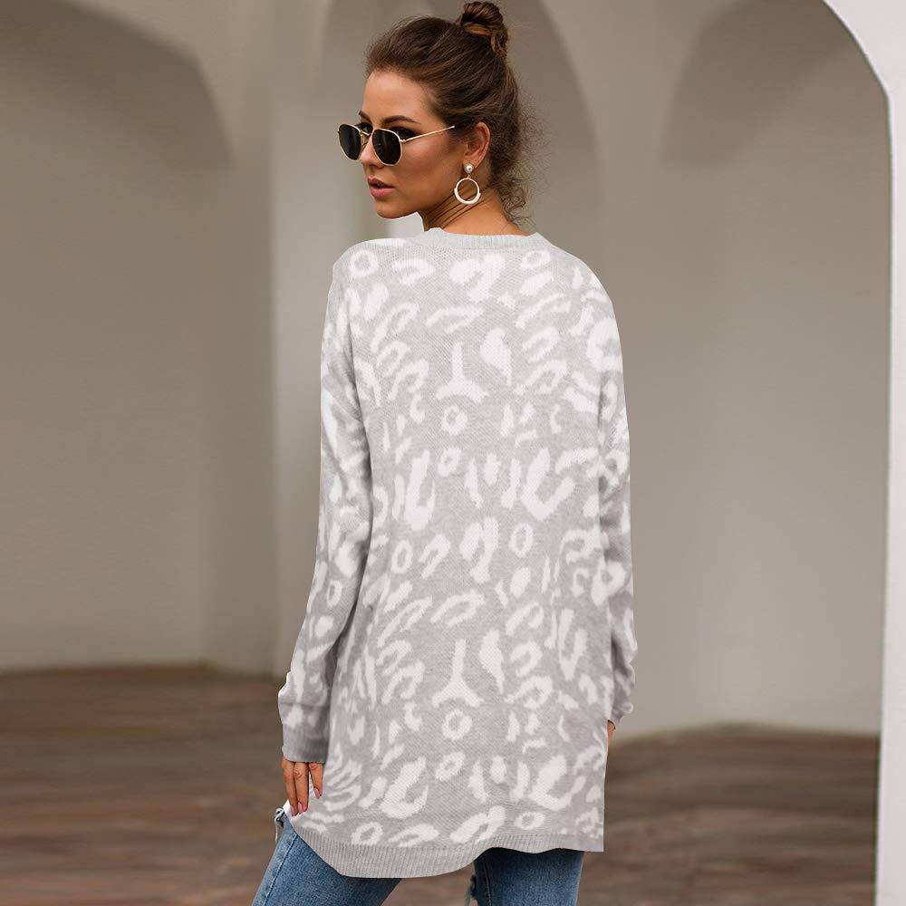 PRETTYGARDEN Women/'s Casual Leopard Print Long Sleeve Crew Neck Oversized Pullover Knit Sweaters Tops