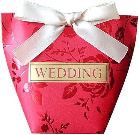 Zedo Cajitas para Regalos Cajitas Regalo Boda Caja de Boda Cajas Regalo Cajas de Carton Cajas de Carton para Regalo Caja de Dulces para Fiesta de Boda 6 * 6 * 11.5cm,5PC,Rojo: