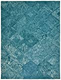 Cheap Rivet Motion Patterned Wool Area Rug, 8′ x 10'6″, Marine Blue