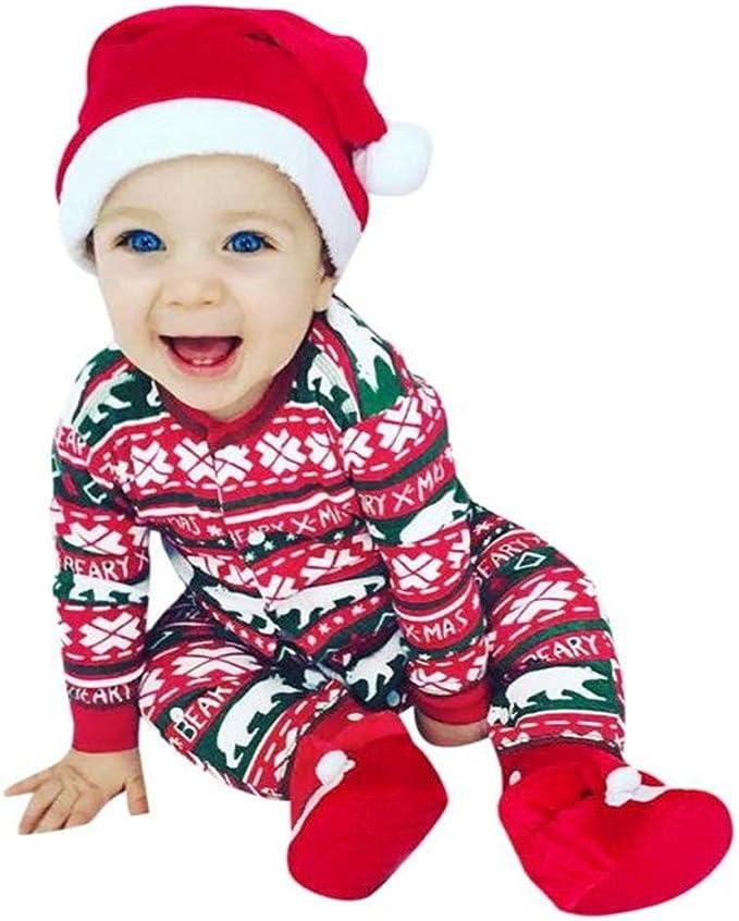 MYONA Traje de Navidad Bebé, Mameluco de Bebé Manga Larga con ...