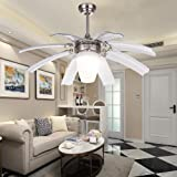 LuxureFan Simple Modern Ceiling Fan Light for Contemporary Living Room Bedroom Restaurant with Eight Retractable ABS Transparent Leaves and Take-Off Chandeliers (Sand Nickel)