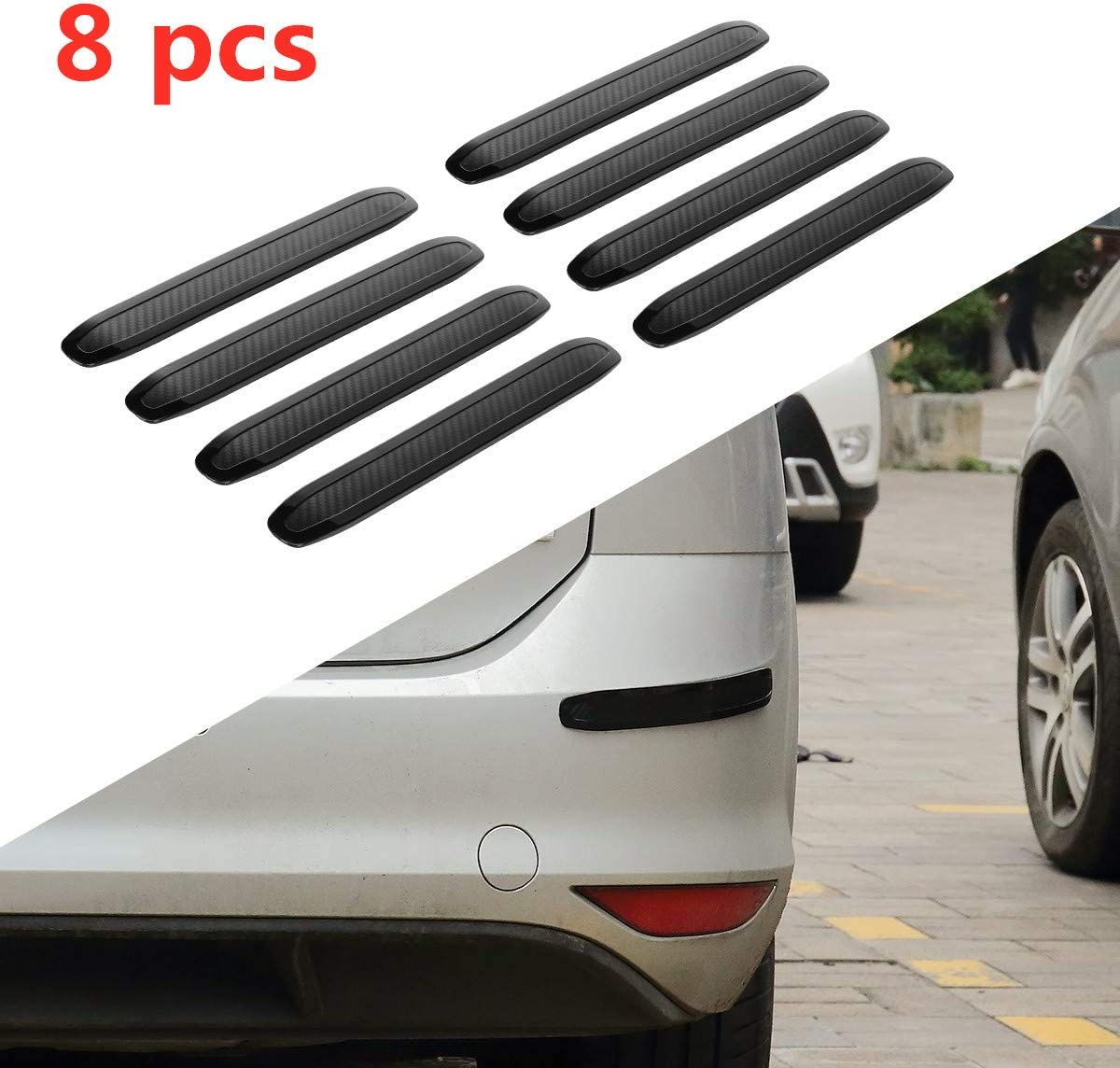 ZaCoo 2 Pack Car Bumper Guard Auto Body Bumper Guard Anti-Scratch Protector Thicken Soft Rubber Strip for Front//Rear Bumper 15.8 x 2 Black