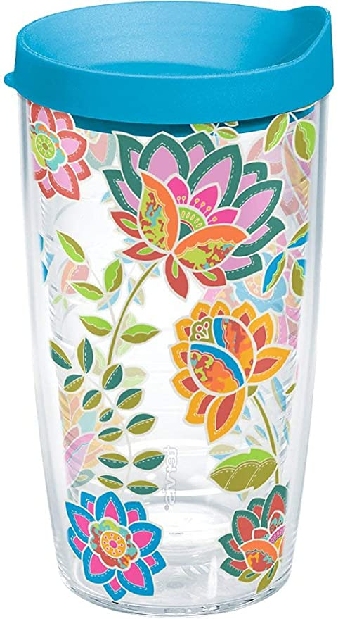 Tervis 1176072 Boho Floral Chic Tumbler with Wrap and Turquoise Lid 16oz Clear Drain Snake