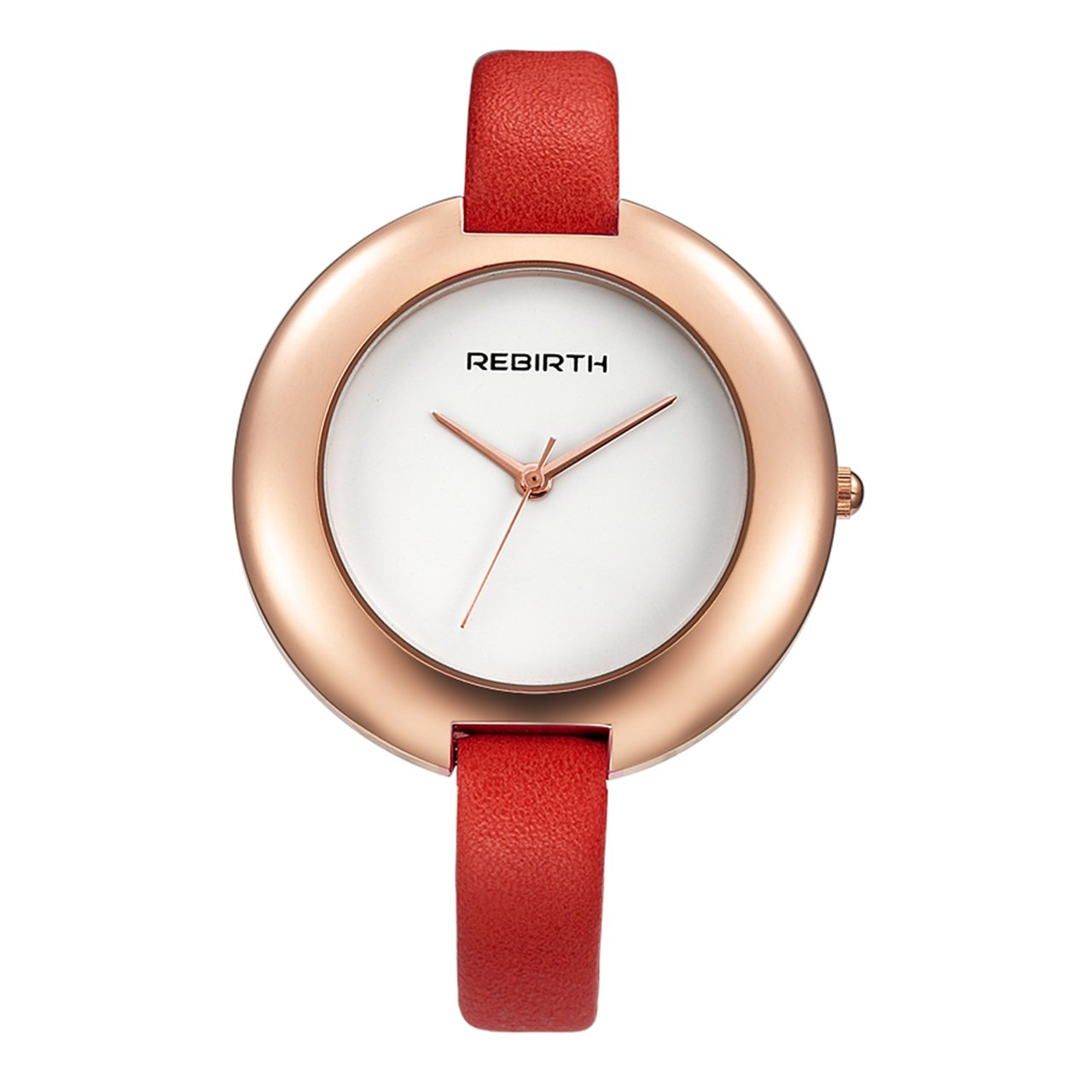 Top Plaza Ladies Red Fashion Big Face Watch Analog Quartz Thin PU Leather Blank Space Dial Daily Waterproof by Top Plaza (Image #1)