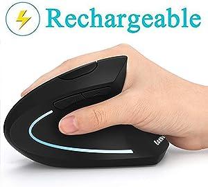 Ergonomic Mouse, Vertical Wireless Mouse - LEKVEY Rechargeable 2.4GHz Optical Vertical Mice : 3 Adjustable DPI 800/1200/1600 Levels 6 Buttons, for Laptop, PC, Computer, Desktop, Notebook etc, Black