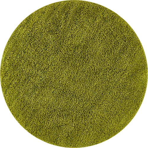 Solid Shag Green Modern Geometric Plain Plush 4 Round ( 3'11