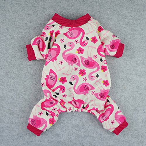 Fitwarm Flamingo Pet Clothes for Dog Pajamas PJS Shirts Jumpsuit Pink Small by Fitwarm (Image #1)
