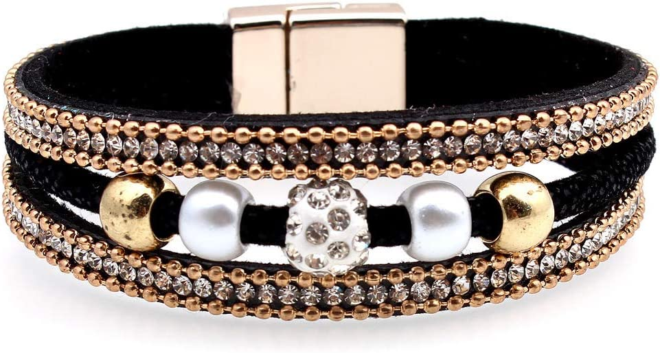 Bracelet with Diamonds Velvet Leather Pearl-Studded Popular Jewelry for Woman Girl