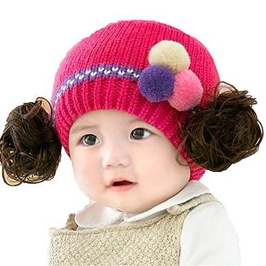 Chapeau Casquette Bonnet Écharpe Bébés Enfants Garçons Filles Hivernal  Tricoté Perruque Rouge B fa09b9417f1