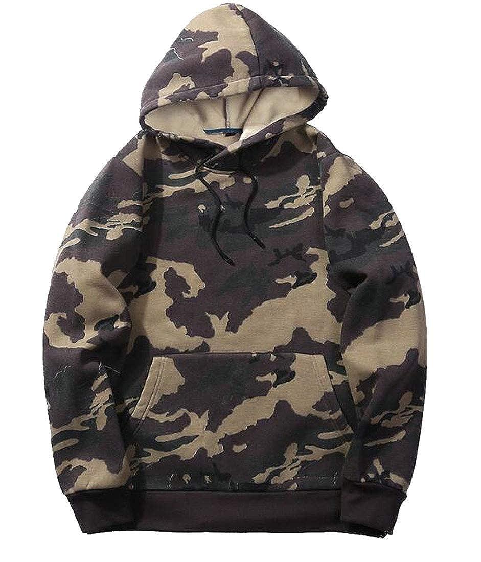 Sweatwater Men Loose Fit Pockets Camouflage Hoodie Pullover Sweatshirts Jacket