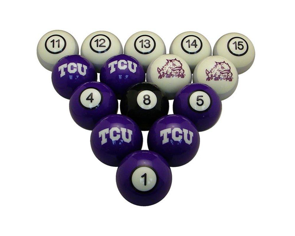wave7 TCU Horned Frogsスポーツチームロゴ公式ライセンスビリヤードボールセット – 番号付き B0194YWCJY