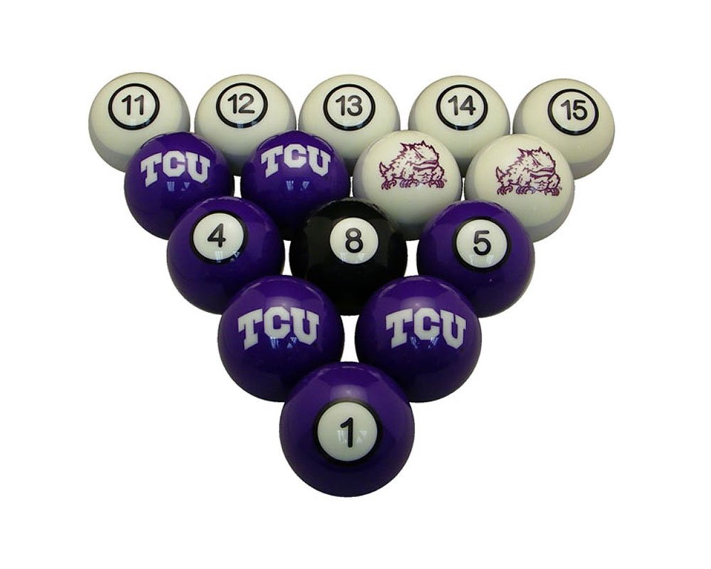 Wave7 TCU Horned Frogs Sports Team Logo Officially Licensed Billiard Ball Set - NUMBERED by wave