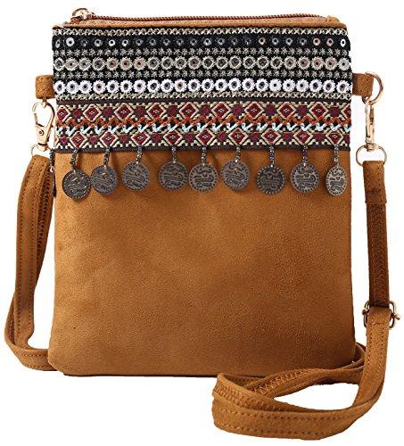 ian Crossbody Small Handbag Adorable Ethnic Sling Pouch (Camel) ()
