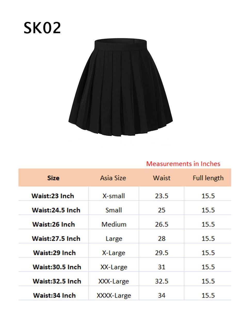 Beautifulfashionlife Women`s Short A Line Pleated Plus Size Midi Cosplay Skirts(3XL,Blue Wine White)