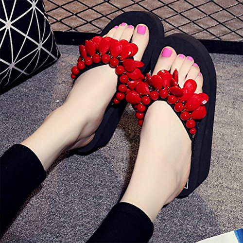 Slipper Heel 41 Sandals Mid Beaded with Sewing Handmade Red Sandals Flop Red Womens Flip v4ww7