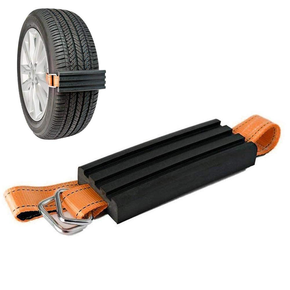 Niome Snow Tire Chain for Car Truck SUV Anti-Skid Emergency Car Tire Block Winter Driving for Emergencies and Road Trip Set of 1