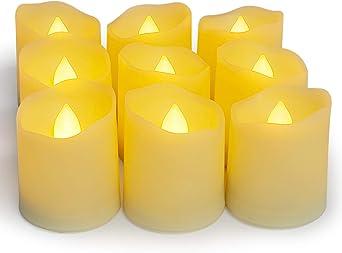 9er LED Teelichter mit Fernbedienung Batterien flackernd Teelicht Kerzen Set