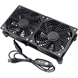 GDSTIME Dual 120mm 5V USB Fans, 102CFM Big Airflow Fan Cooling for Router TV Box Micro Computer and Other Electronics