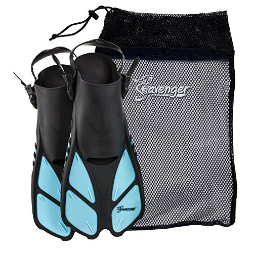 Seavenger Torpedo Swim Fins | Travel Size | Snorkeling Flippers with Mesh Bag for Women, Men and Kids (Dodger Blue, L/XL)