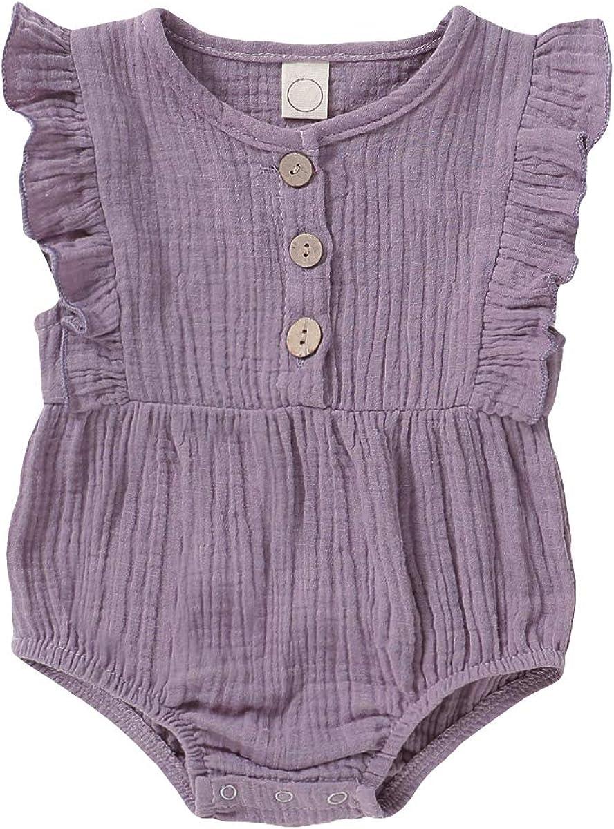 HZYKOK Newborn Baby Girl Romper Ruffle Short Sleeve Bodysuit Cotton Linen One Piece Jumpsuit Infant Summer Outfits Clothes