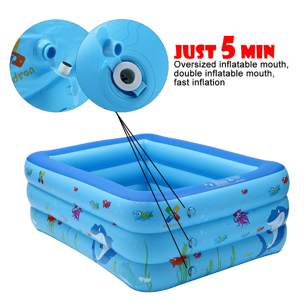 51.2/×33.4/×21.6IN Swim Center Family Inflatable Pool,Large Kiddie Inflatable Shark Swimming Pool Kids Water Play Fun 51In//59In For Ages 3+,Double Inflatable Mouth,Water Pool in Summer