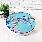 dream_home America Rural Bird and Flower Style Round Zafu, for Bay Window/Balcony/Floor/Table, 16 Inch