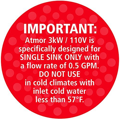 857580003019 - Atmor 3kw/110v SINGLE SINK 0.5 GPM Point-Of-Use Tankless Electric Instant Water Heater Including Pressure Relief Device and 0.5 GMP Sink Aerator, AT-900-03 carousel main 3