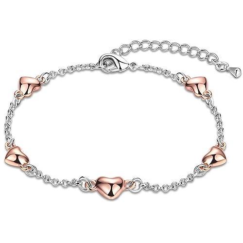 bigshopDE Armband Armkette Legierung Silber Rosegold Herz Frauen Mädchen  Liebe Schmuck  Amazon.de  Schmuck 6b31285234