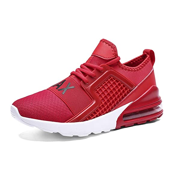 RUMPRA Mens Fashion Sneakers Breathable Sport Walking Tennis Running Shoes Fitness Gym Casual Athletic(red-A,42)