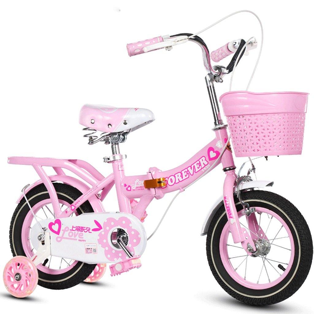 DGF 子供用自転車折りたたみ式ベビーカー女の子プリンセスモデルサイクリングキッズバイク3-10歳 (色 : パープル ぱ゜ぷる, サイズ さいず : 14 inches) B07F1PTDRN 14 inches|ピンク ぴんく ピンク ぴんく 14 inches