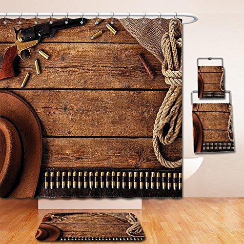 LiczHome Bath Suit: Showercurtain Bathrug Bathtowel Handtowel Western Decor Collection Cowboy Gun Belt and Vintage Rope Hat Cigar on Rusticooden Picture Polyester Fabric Brown Beige For Bathroom