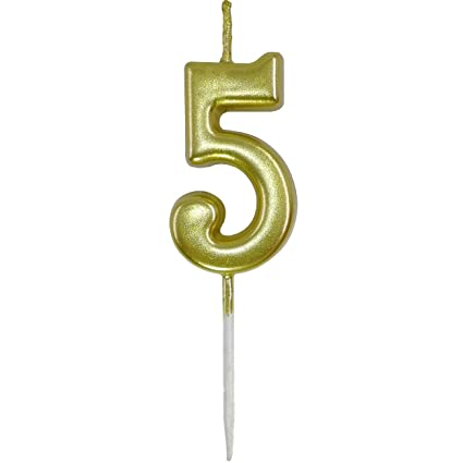 Amazon ORIY Small Gold Number Candles Numbers 5st Five 5