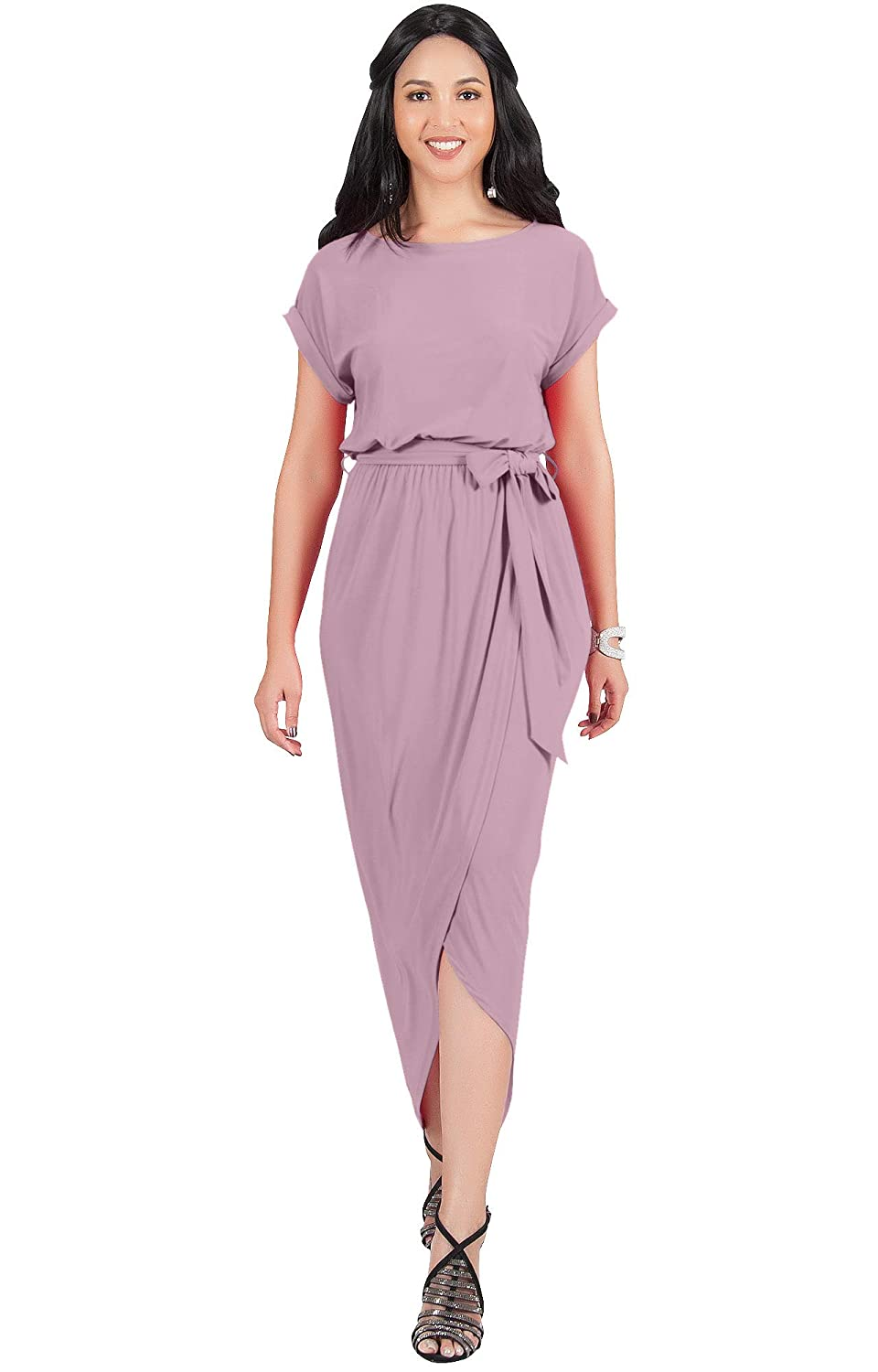 4d200edbe8a33 KOH KOH Womens Short Sleeves Round Neck Solid Draped Asymmetrical Maxi  Dress at Amazon Women s Clothing store