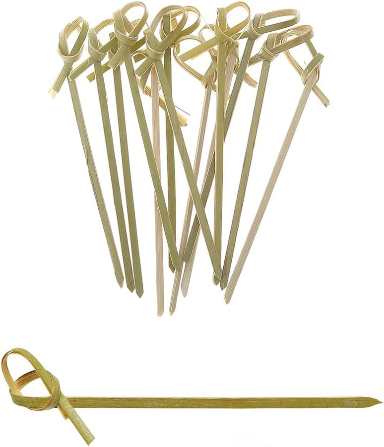 AKOAK 100 Count 3.5 Inches Bamboo Knotted Skewers, Twisted Ends Bamboo Skewers Cocktail Picks